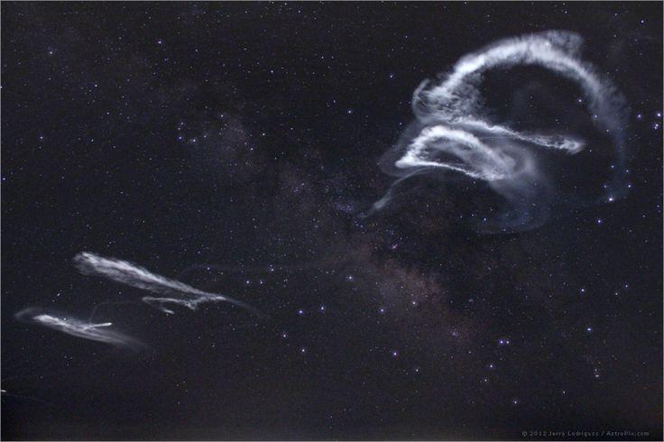 Rocket trails in the Milky Way -- looks sort of creepy.