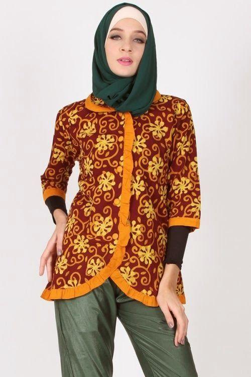 Inspirasi Model Baju Kerja Batik Muslim Modern