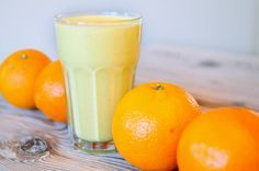 Drinkontbijt/shake banaan sinaasappel havermout yoghurt - lekker, simpel en vult