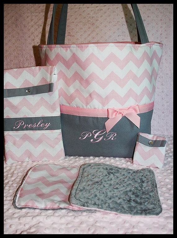 210 best baby shower ideas images on pinterest shower ideas baby girl personalized diaper tote bag with wipes case pacifer pouch and minky burp cloths negle Image collections