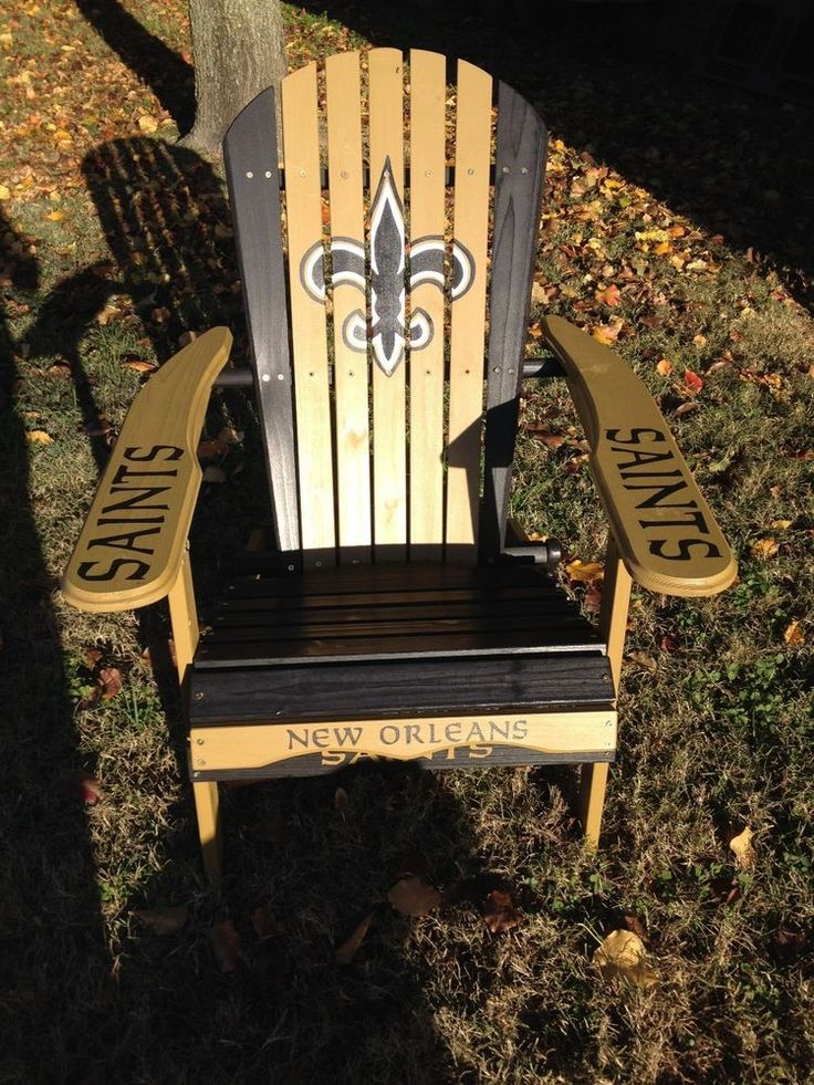 HAND PAINTED NEW ORLEANS SAINTS FOLDING ADIRONDACK CHAIR NFL FOOTBALL TAILGATING