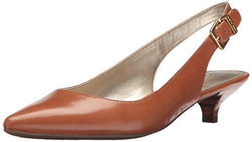 Anne Klein Women's Expert Leather Dress Pump  Pointed-toe pump featuring buckled slingback strap and kitten heel  IFlex technology for flexibility