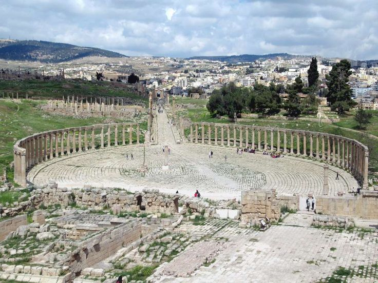 Jerash is the best preserved ancient Roman city in Jordan, as exemplified by the Oval Plaza or Forum with its 56 Ionic columns.