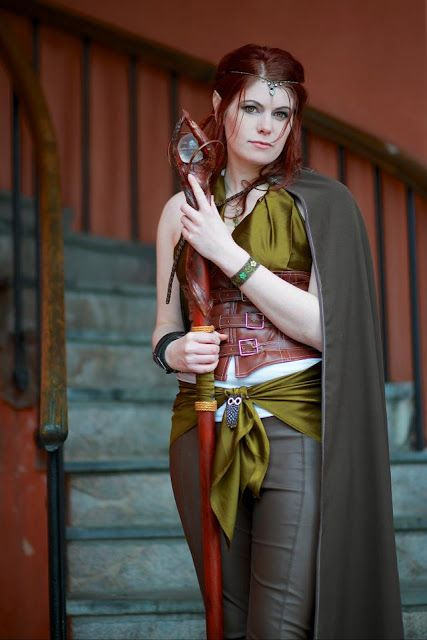 Elvish staff -base is made from a cardboard tube and foam, even the smallest budget can make this!