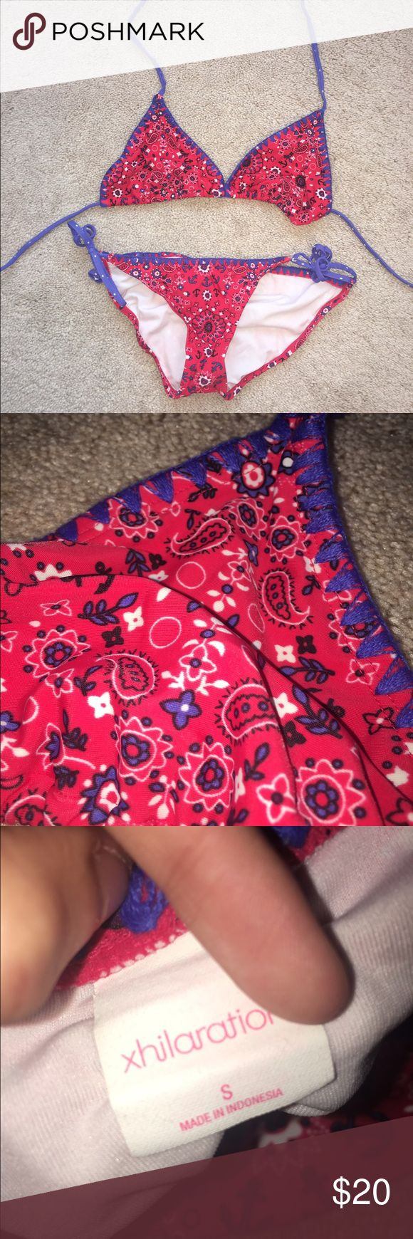 Target Xhilaration Brand Red and Blue Bikini brand: target (xhiralation)  size: small for both, fits true to size condition: like new originally $35 for the set  colors: red, blue, and white  ruched detail on the bottoms, tied at the sides  unlined triangle style top Xhilaration Swim Bikinis