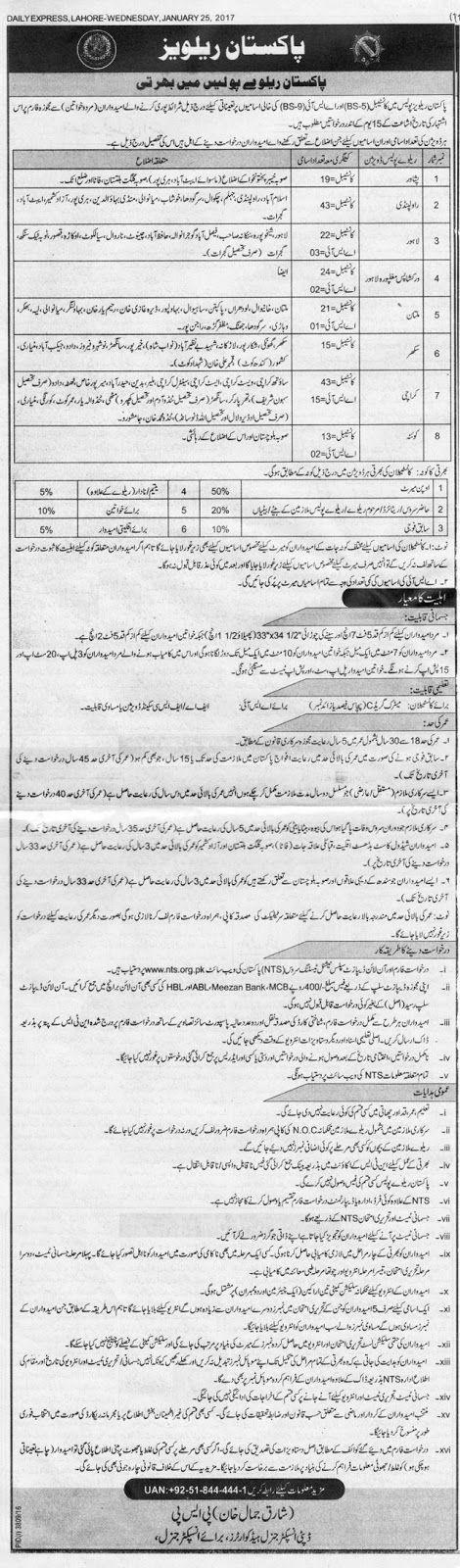 Pakistan Railways Jobs 2017 Before 09.02.2017