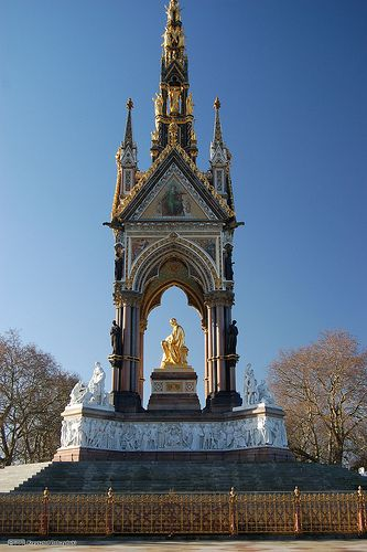 The Albert Memorial is situated in Kensington Gardens, London, directly to the north of the Royal Albert Hall. It was commissioned by Queen Victoria in memory of her beloved husband, Prince Albert who died of typhoid in 1861.