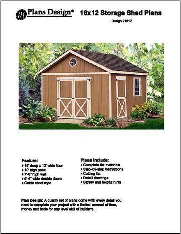 16 x 12 gable storage shed project plans design