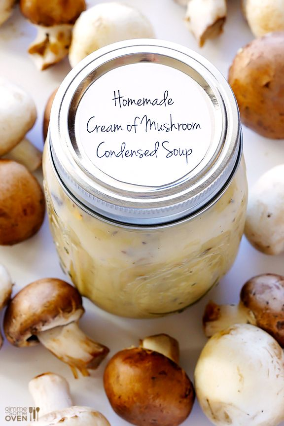 Learn how to make condensed cream of mushroom soup homemade!!  It's super easy, and can be used in casseroles, soups or whatever you'd like. | gimmesomeoven.com #diy