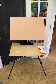 Making a plein air easel with a camera tripod base