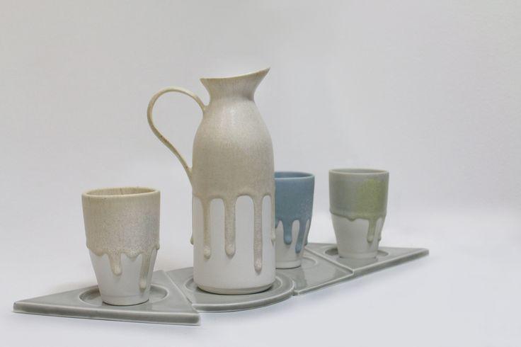 Flowing porcelain,melting matte glaze,slip casting. JaHyeon Jeon Work. 2014. korea.