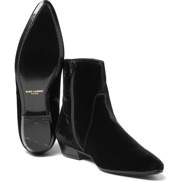 Saint Laurent Velvet Boots ($498) ❤ liked on Polyvore featuring men's fashion, men's shoes, men's boots, mens black pointed toe dress shoes, mens black shoes, mens pointed toe cowboy boots, mens black boots and yves saint laurent mens shoes