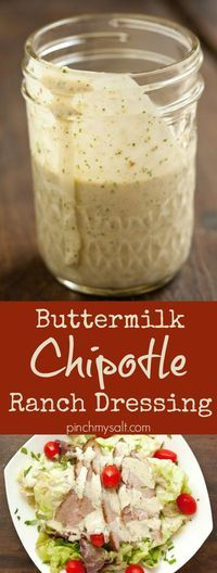 This easy chipotle ranch dressing can be used to spice up your salads or you can use it as a chipotle ranch dip. With buttermilk, chipotles, and lots of fresh herbs and spices, this easy chipotle ranch sauce is so delicious, you'll never run out of ways to use it! | pinchmysalt.com