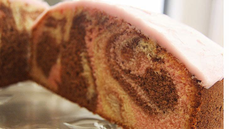 Tanya McArthur's marble cake as featured in this week's Good Food section of The Sydney Morning Herald. Please note the recipe in the first edition of the cookbook contains an error as a result of a production issue - not the fault of the cook or the author. It should read 220 grams butter and 250 grams of castor sugar. The recipe is correct in Good Food.