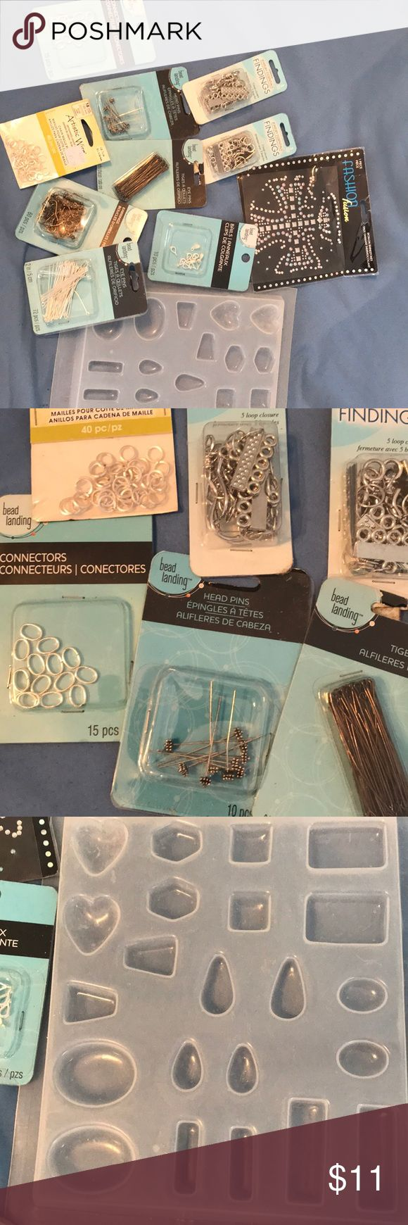 Random Jewelry Making Findings,Molds, And iron on Jewelry Making Findings , Plastic Molds , And An Iron On Accessories