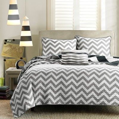 Leo 4 Piece Quilted Coverlet Set - Black (Full/Queen)