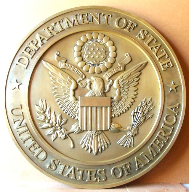 Brass Plaque Of The Great Seal Of The Us Department Of State Brass Plaques Plaque Custom Carved