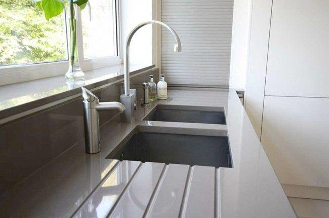 Grey quartz worktop and upstand