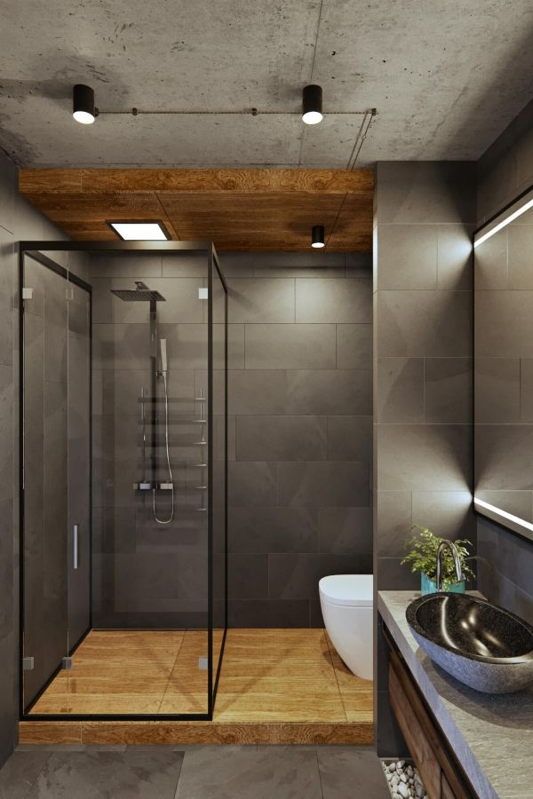 Современный интерьер с элементами лофта для холостяка от студии Geometrium / Дизайн интерьера / Архимир