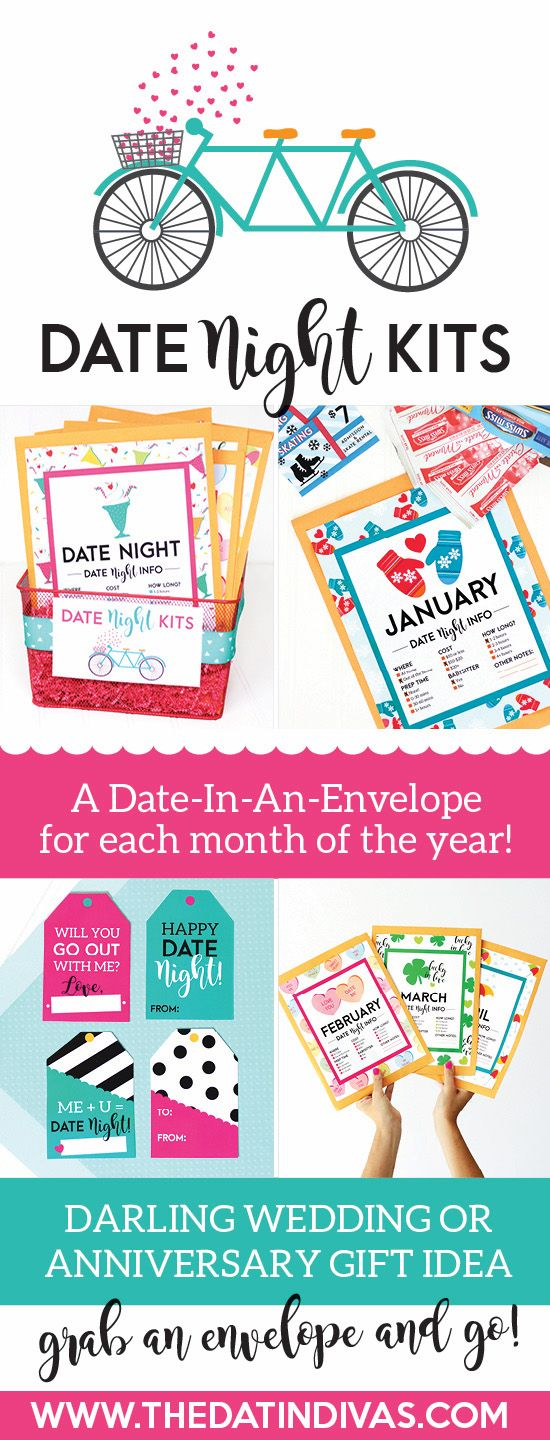 I love these cute envelopes! What a fun, easy way to give a year of dates, just put everything in an envelope! Fun DIY date night kits!