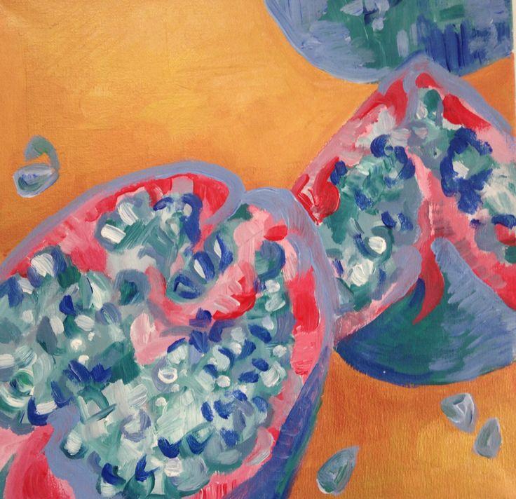 'melograno' #pomegranate #acrylic #gold # canvas