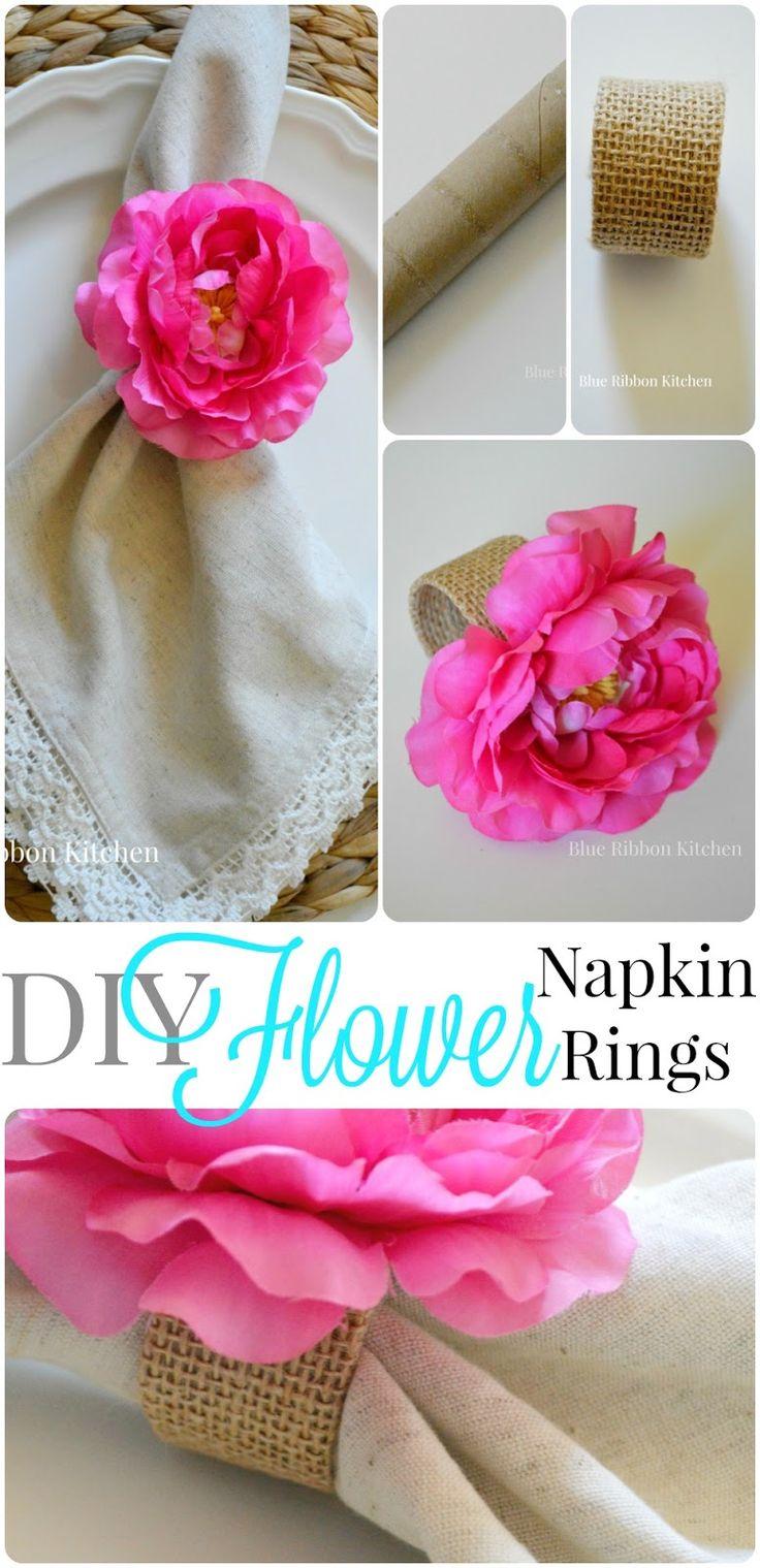 Blue Ribbon Kitchen: Easy DIY Flower Napkin Rings