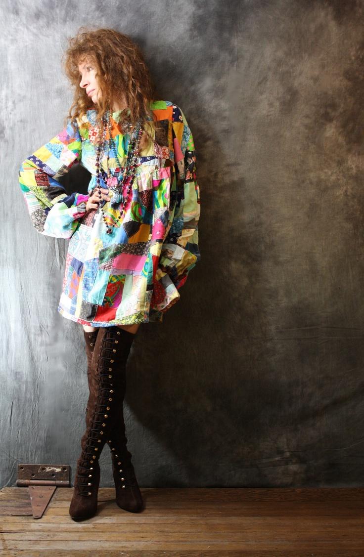 Vintage 1960s Hippie Patchwork Dress | 60s Hippie Fashion ...