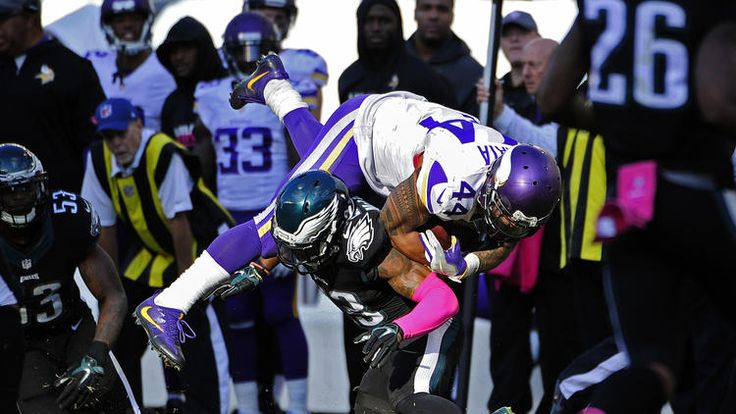 Running back Matt Asiata #44 of the Minnesota Vikings is upended by free safety Rodney McLeod #23 of the Philadelphia Eagles in the fourth quarter at Lincoln Financial Field on October 23, 2016 in Philadelphia, Pennsylvania. The Eagles defeated the Vikings 21-10. (Photo by Corey Perrine/Getty Images)