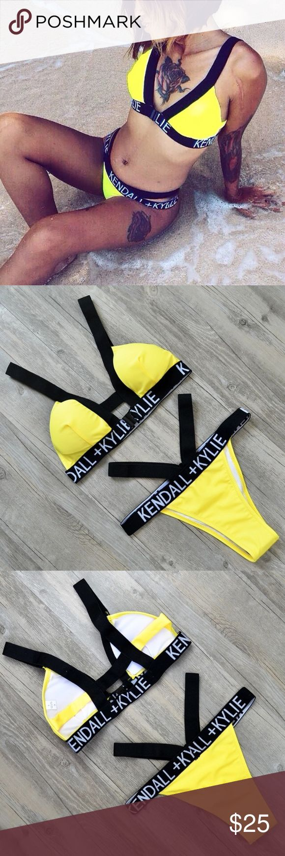 🆕 Kendall Kylie Yellow Bikini, Orange, Hot Pink BRAND NEW  Kendall + Kylie Yellow Strappy Bikini  Padded bra!!   Sizes SMALL, MEDIUM and LARGE available. Limited quantities 👙FIRST COME FIRST SERVE   High quality, boutique branded!   Hot Pink and Orange also in Stock S-L   * this is from my online store Trumpet Jewels follow me on IG @trumpetjewels1 Urban Outfitters Swim