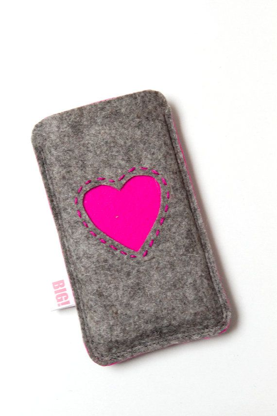 Felt phone cover  natural heathered grey and pink by StudioBIG, €17,50