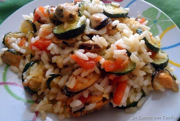 Riso al forno con verdure e cozze
