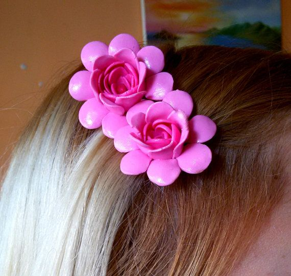 pink flowers hair cliphair accessorisepolymer by jewelryfoodclay