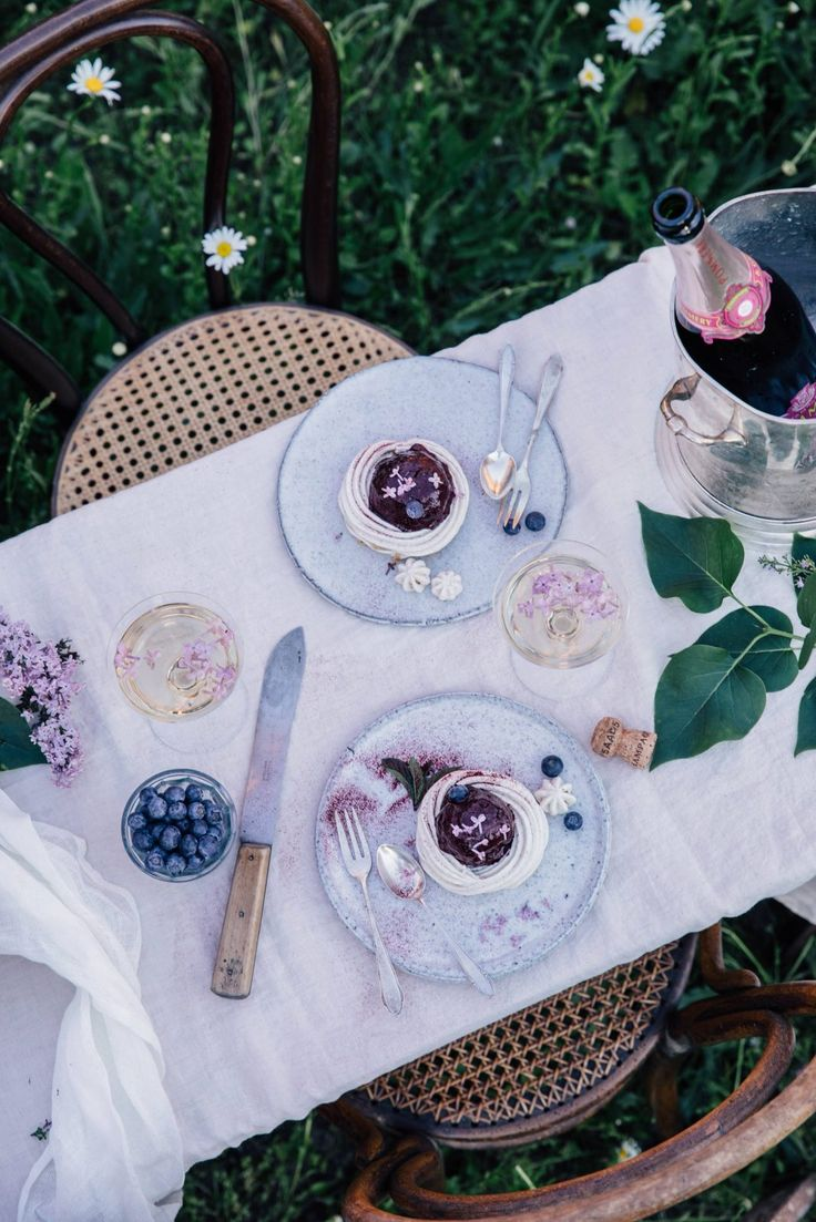 Delicious gluten-free blueberry pavlova with blueberry banana ice-cream and a spring gathering in the countryside in our garden.