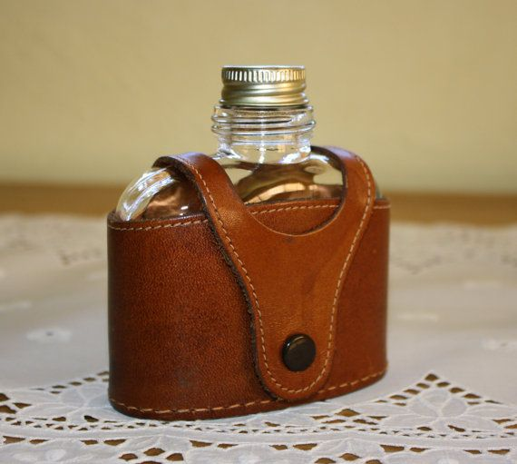 Vintage Handmade Leather Hip Flask Case.
