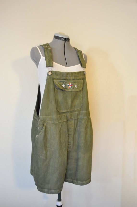 "Olive 20W XL Bib OVERALL Shorts - Dyed Olive Green Cherokee Cotton Shortalls - Adult Womens Plus Size 20W Extra Large (46"" Waist)"