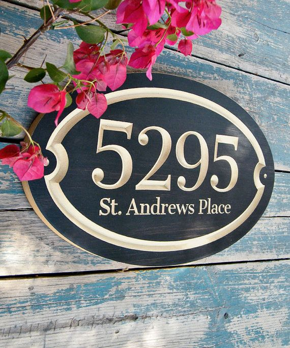 Elegant oval house number engraved plaque made in polyurethane finished MDF    The contrast between a hand painted dark subtle texture and the