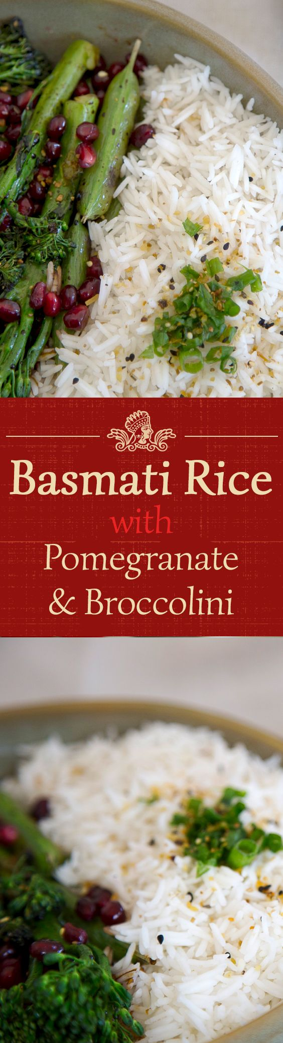 Pomegranate broccolini with Royal Basmati Rice is a feast for the eyes and tastebuds.