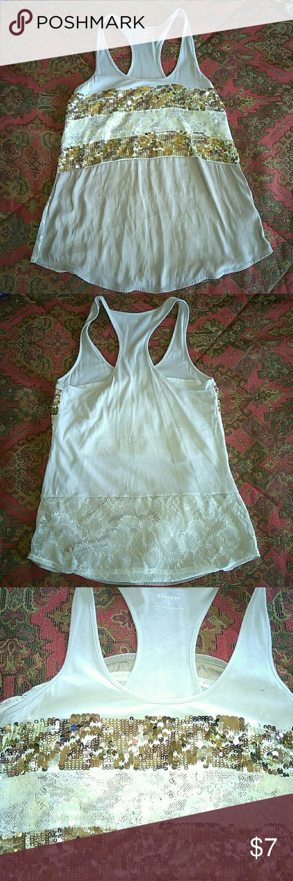 Express Cream with Gold sequins Tank Top Nice Express tan top with gold sequins and lace. Size small. Great condition with no stain or holes. Express Tops Tank Tops