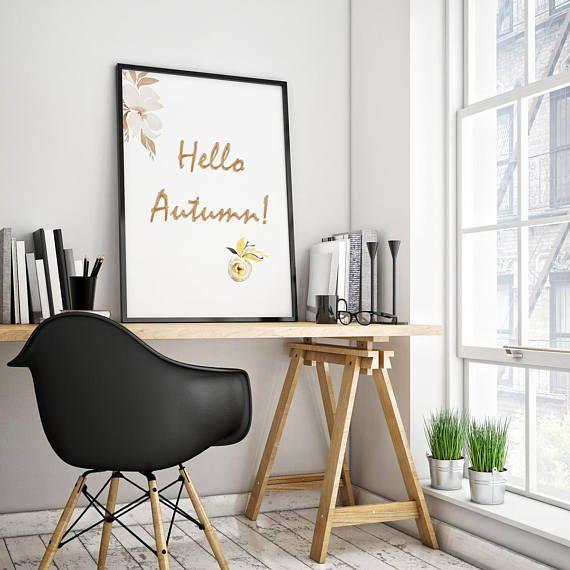 Watercolor Print Hello Autumn Decor Motivational Poster - Visit Kornela Shop   https://www.etsy.com/shop/Kornela