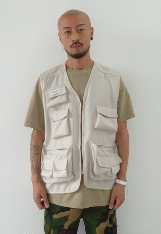 New 90s Style Multi Pocket Utility Vest In Cream Vest