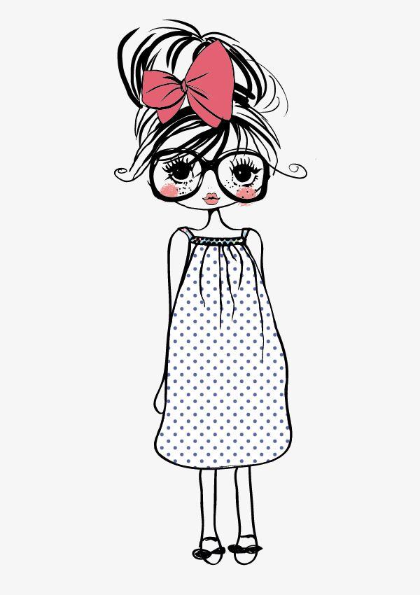 Cartoon Hand Painted Penny Cute Girl, Cartoon Clipart -5680