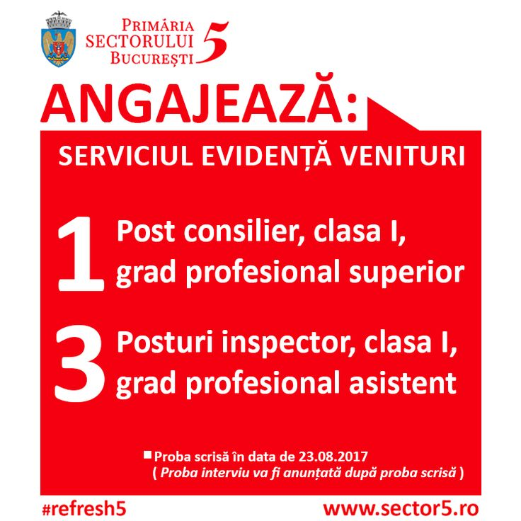 #DF : Primaria Sectorului 5 organizeaza concurs pentru ocuparea urmatoarelor posturi: http://www.sector5.ro/media/23698/anunt-avizier-si-site.pdf  #refresh5
