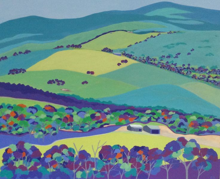 Patchwork Paddocks. Acrylic on canvas by Robyn Henchel.