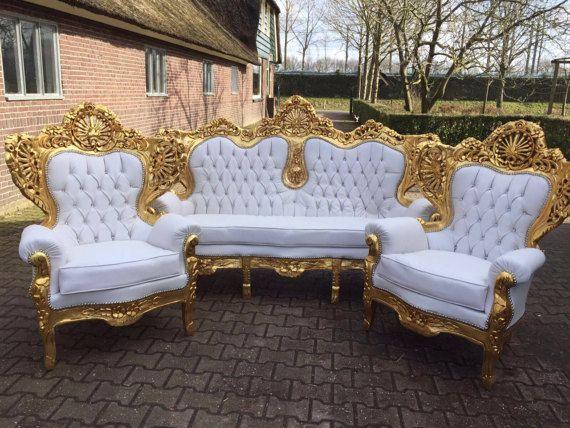 Italian Antique Furniture Throne Chair Settee Rococo Tufted