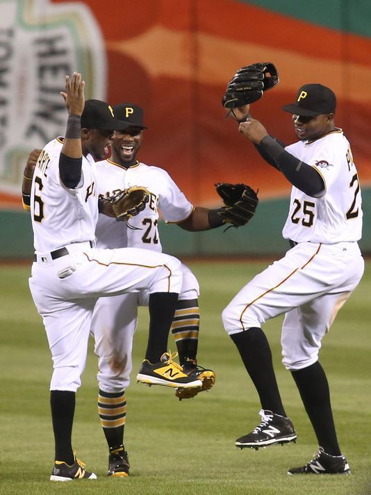 The Pirates outfield of (L-R) Starling Marte, Andrew McCutchen and Gregory Polanco is one of the best trios in the game.  Charles LeClaire, USA TODAY Sport, USA TODAY Sports