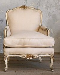 One of a Kind Vintage Shabby French Cream White Louis XV Gilt Bergere Chairs Pair-antique, vintage,bergere, chair,floral, carved, burlap, white, furniture,gilt,gold,