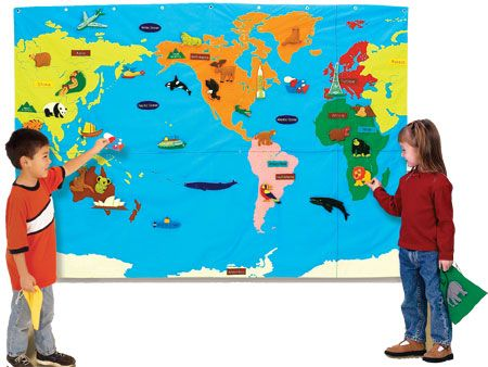 4'x6' cloth map that includes 68 felt pieces and activity guide. GeoSafari Wonder World - Wall Map $199.99
