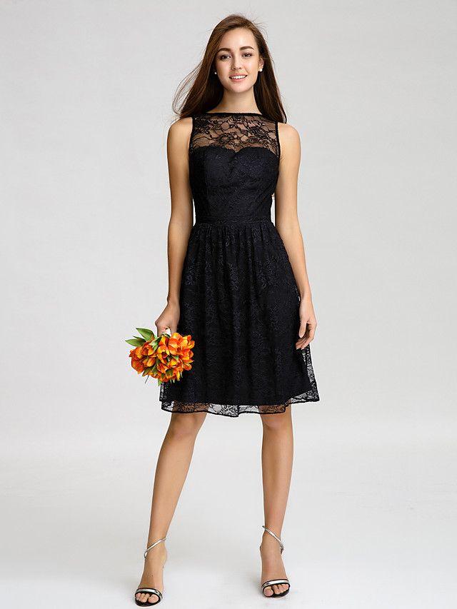 Lan Ting Knee-length Lace Bridesmaid Dress - Black A-line Bateau - CAD $97.29