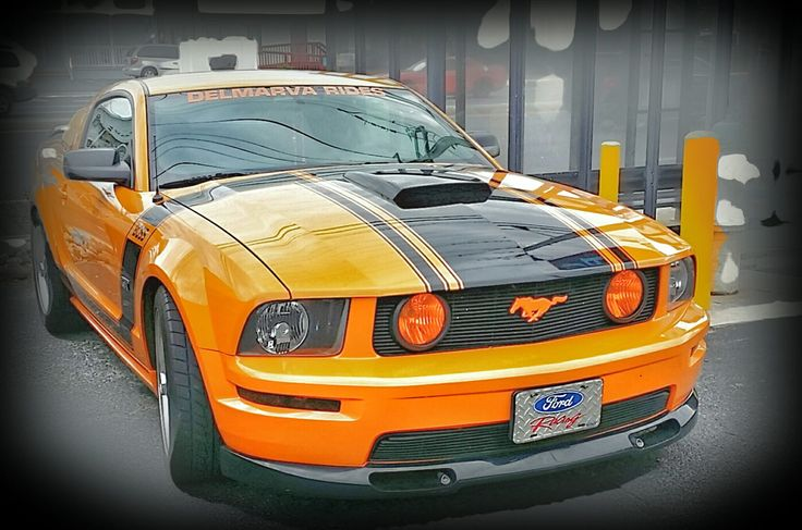 Grabber Orange boss mustang | Mustang show at Dead Freddie's Restaurant in Ocean City Maryland (Cruisin' Weekend May '15)