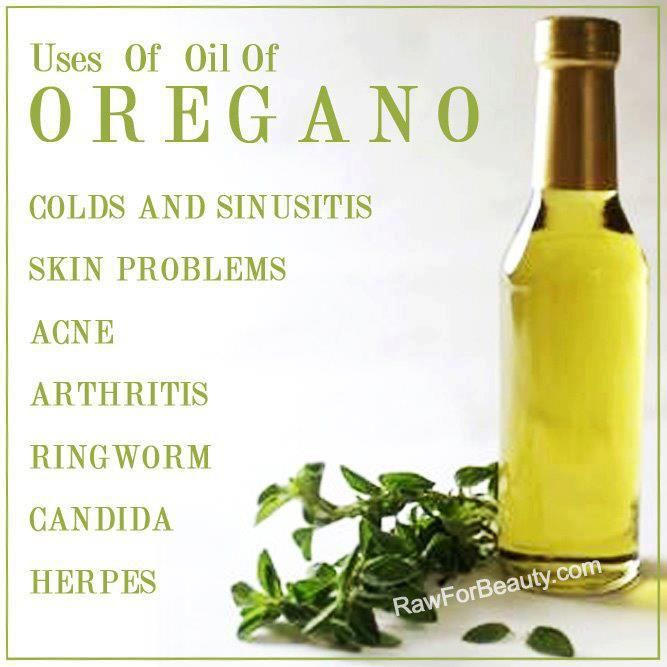 OIL OF OREGANO: Natural cure for: flu, sinusitis, viruses, parasites, candida, acne, herpes, cold sores, gut bacteria & fungus. NATURAL ANTIBIOTIC: put 8 drops in 1 cup of water, drink daily til symptoms stop. NATURAL BUG REPELLANT:Add 8 drops to a 2 ounce spray bottle- spray on skin. NATURAL HOUSEHOLD DISINFECTANT: (26x more powerful than Lysol): Fill a bucket w/ hot water & pour in 4 drops of oregano oil & 10 drops of lemon oil to clean floors and walls.